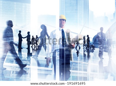 Abstract Image of Professional Busy People  - stock photo