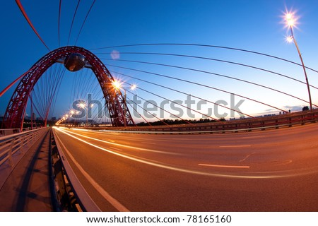 Abstract image of Red bridge. Moscow - stock photo