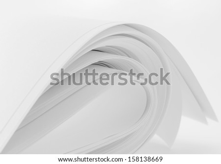 abstract image of  sheets white paper wave shape - stock photo