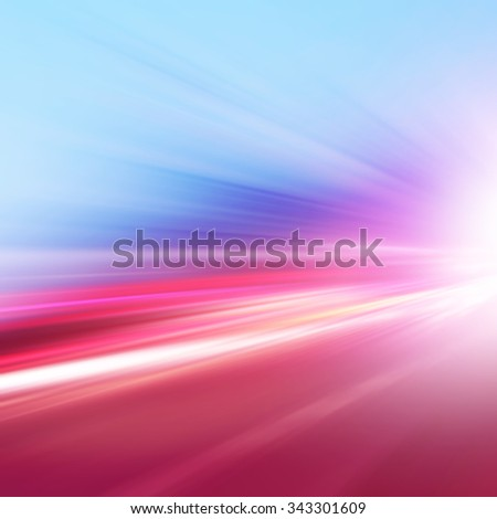 Abstract image of speed motion on the road at dusk. - stock photo