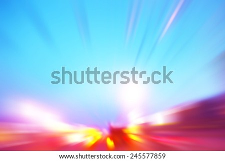 Abstract image of speed motion on the road in the city. - stock photo