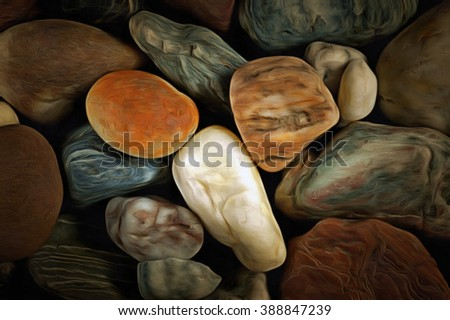 Abstract image of the various pebble stones - mixed media