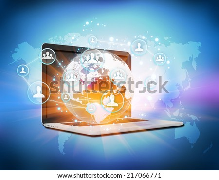 Abstract image symbolizing the social network online - stock photo