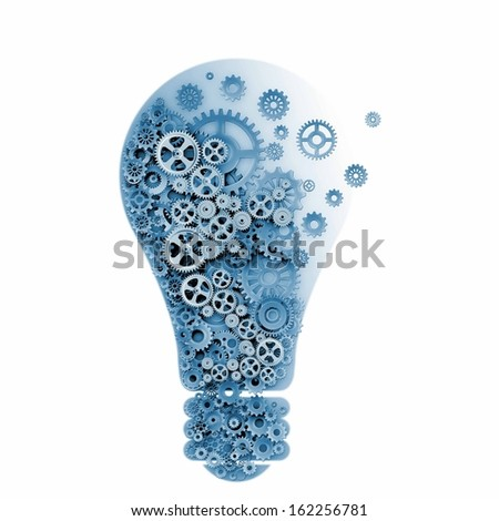 Abstract image with bulb made of gears - stock photo