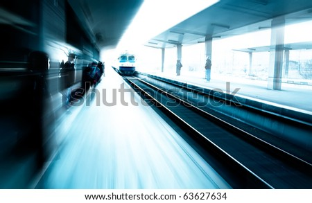 abstract image with station and passengers - stock photo