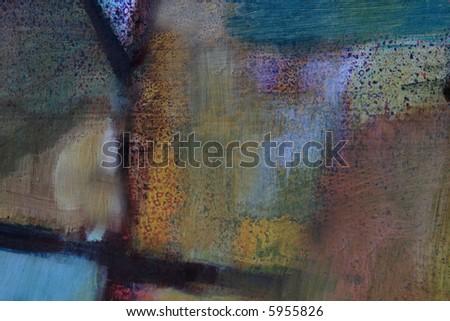 abstract in yellow, green, red, blue, brown, purple and black