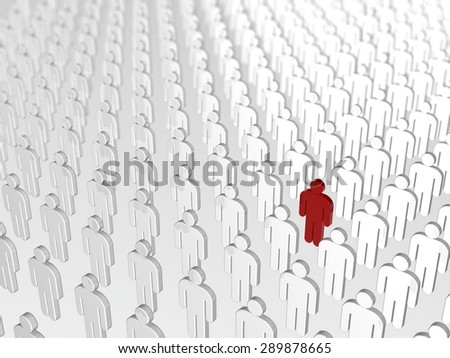 abstract individuality, uniqueness and leadership business concept: single red 3D people figure in crowded group of white figures with depth of field focus effect - stock photo