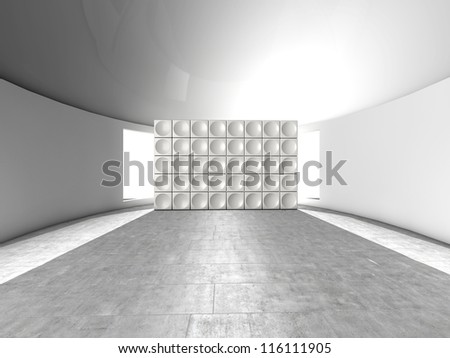 Abstract indoor futuristic indoor with acoustic wall with circles - stock photo