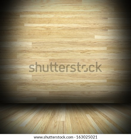 abstract indoor view of wood cabin made from laminated planks - stock photo