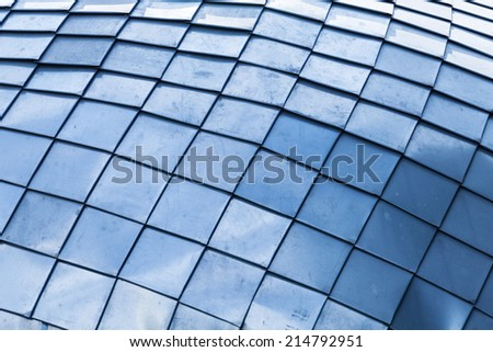 Abstract industrial background with blue steel tiling
