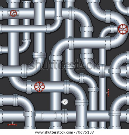 Abstract Industrial Background with chaotic pipes construction - stock photo