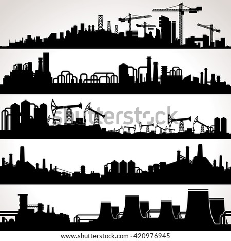 Abstract Industrial Skyline. Panoramic Seamless Silhouettes. Set - stock photo