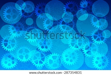 Abstract industrial technology concept, gears connection on blue background - stock photo