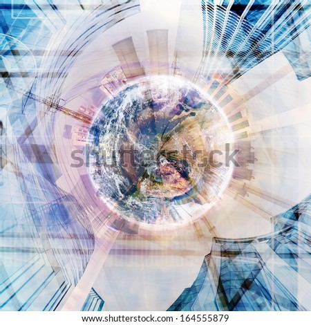 abstract industry stereographic background collage- elements of this image furnished by NASA - stock photo