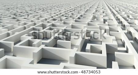Abstract infinity construction like maze - stock photo