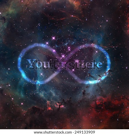 abstract infinity cosmos background with text added- Elements of this image furnished by NASA - stock photo