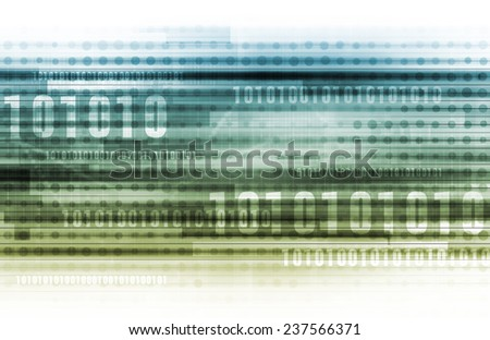 Abstract Information Background with Binary Code Art - stock photo