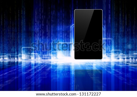 Abstract information technology background tablet pc stock abstract information technology background tablet pc smartphone laptop on blue background voltagebd Choice Image