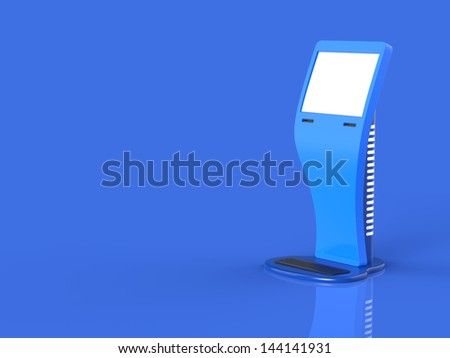 Abstract information touchscreen terminal on blue background. - stock photo