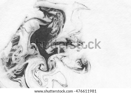 Abstract ink background. Marble style. Black ink with water