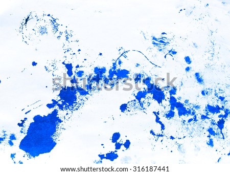 Abstract ink paint. Ink texture on white background. Blue abstract aquarelle backdrop pictured. Paintbrush hand made technique - stock photo