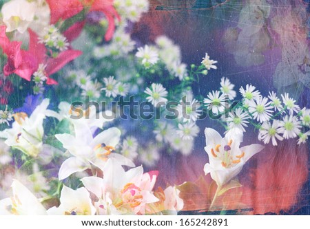 Abstract ink painting combined with field flowers on paper texture - floral grunge - stock photo