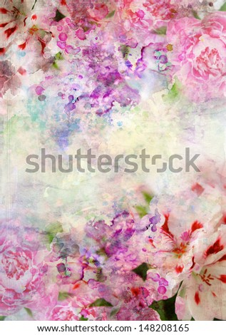 Abstract ink painting combined with flowers on grunge paper texture  - stock photo