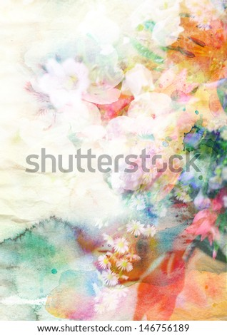 Abstract ink painting combined with flowers on paper texture - stock photo