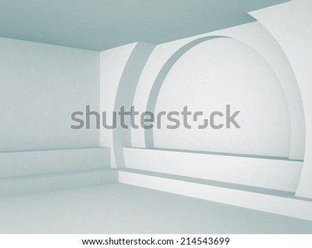 Abstract Interior Architecture Blue Background. 3d render illustration