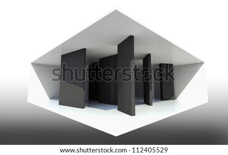 Abstract Interior Background with black partition - stock photo