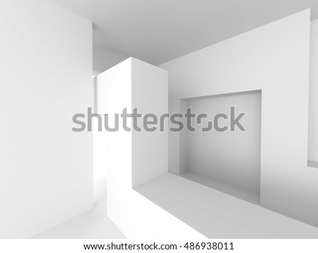 Abstract Interior Design. White Modern Architecture Background. 3d Renbder Illustration