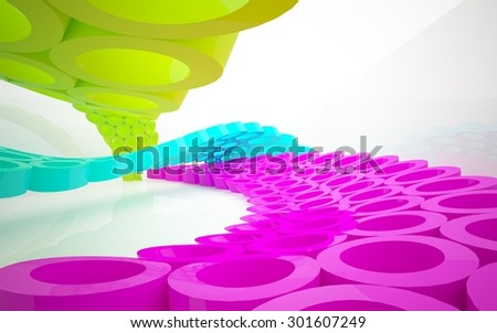Abstract interior of an array of colored rings. 3D illustration. 3D rendering - stock photo