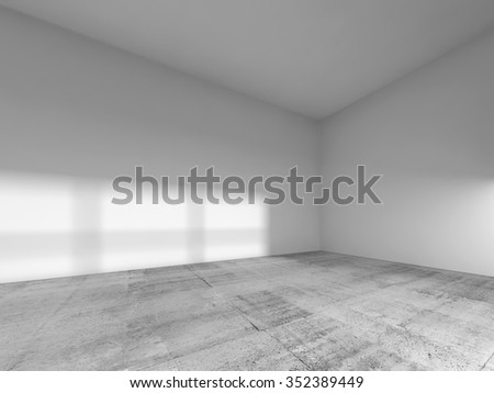 Abstract interior of an empty room with white painted walls and ceiling, concrete floor. 3d render illustration - stock photo