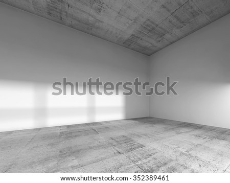 Abstract interior of an empty room with white painted walls, rough concrete floor and ceiling. 3d render illustration