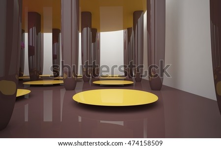 Abstract interior of chocolate, ice cream and sweets. Architectural minimalistic background. 3D illustration. 3D rendering