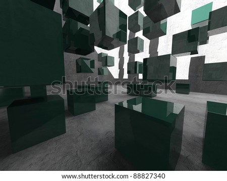 Abstract interior of 3d blocks - stock photo