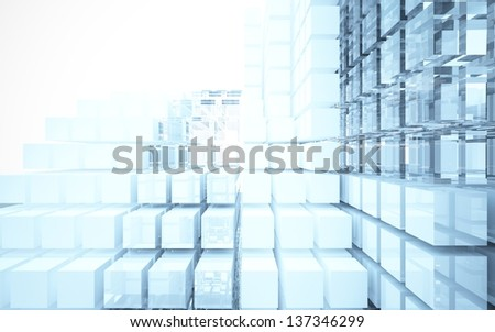 Abstract interior of glass blocks