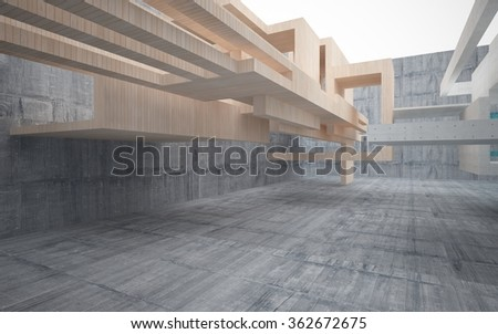 Abstract interior of wood, glass and concrete.3D illustration. 3D rendering  - stock photo