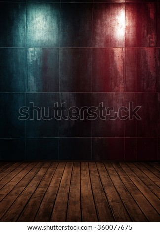 abstract interior room with colored spot lights and wooden floor - stock photo