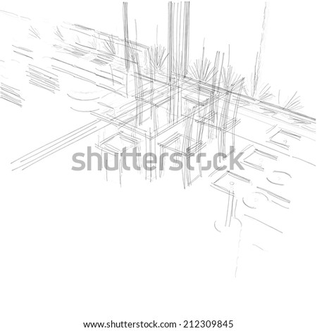 abstract interior sketch