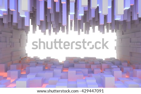 Abstract interior space made of extruded box shaped blocks illuminated by colored lights. 3d rendering - stock photo