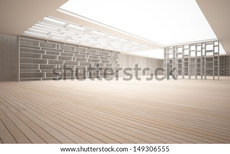 Abstract interior. Stylish white shelves against the concrete and wood - stock photo