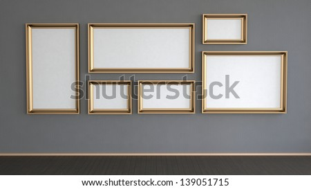 abstract interior wall with many golden frames on it