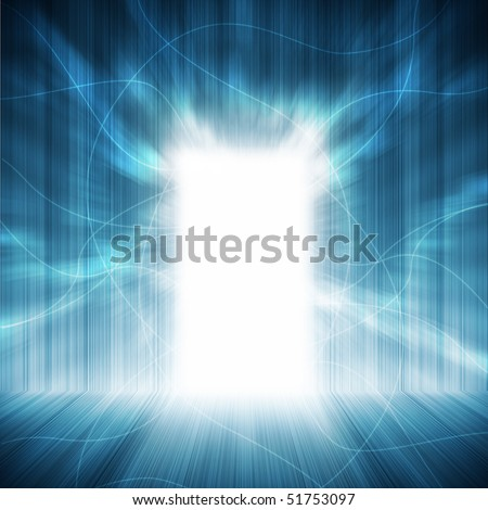 abstract interior with door in another world - stock photo