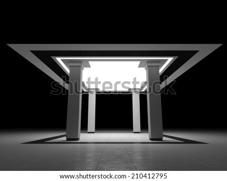 Abstract interior with four columns - stock photo