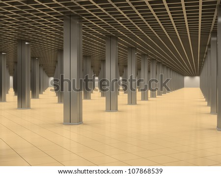 Abstract interior with metal columns