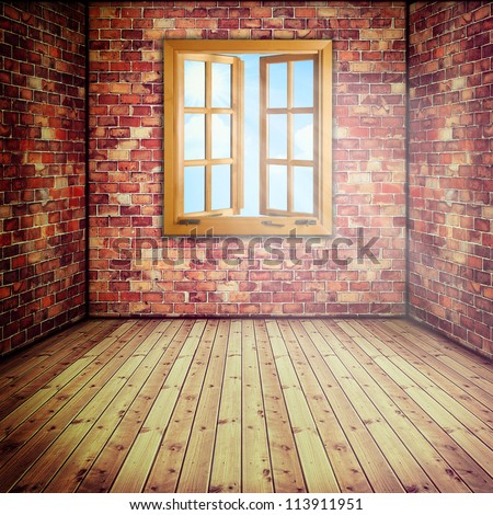 Abstract interior with opened window - stock photo