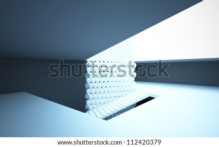 Abstract interior with stairs and walls made of human skulls - stock photo