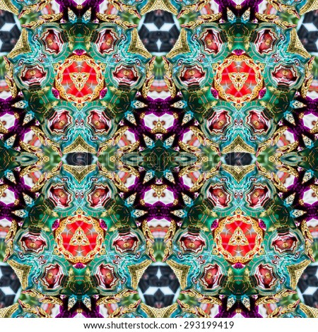 abstract Intricate kaleidoscope seamless pattern background - stock photo
