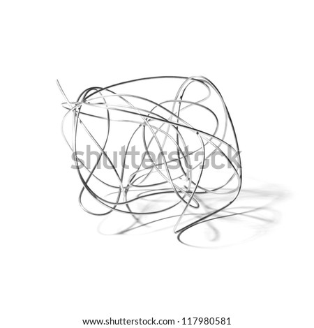 abstract iron wire on white background - stock photo
